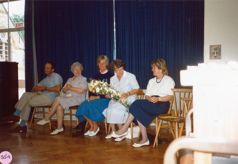 July 1988 Presentation to Miss J. Sullivan. Mr Alan Parratt, Mrs Joan Irons, Mrs Vicky Fleming, Miss Joan Sullivan and Mrs Christine Robey.