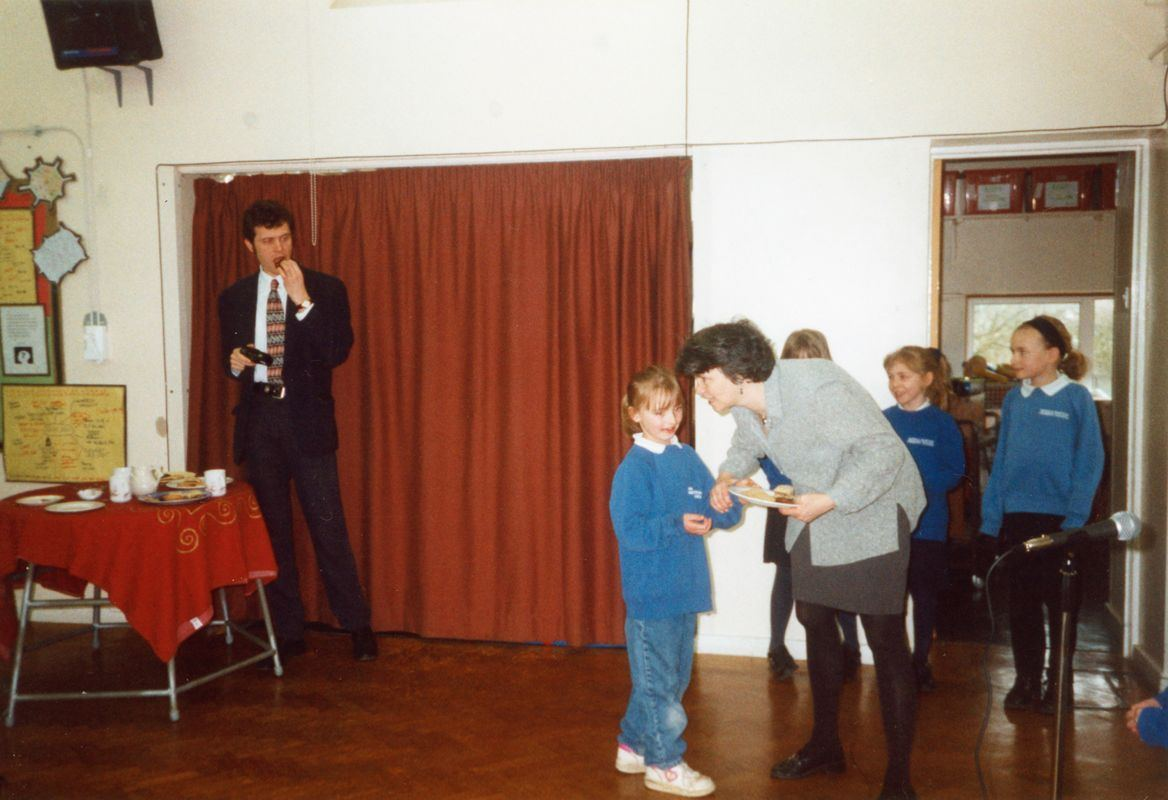24 March 1999 Viewing the music centre. This is a memorial to Martin Norton. Headteacher David Hailey.