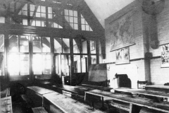 The classroom at the east end of the building. The partition wall was inserted in 1905.