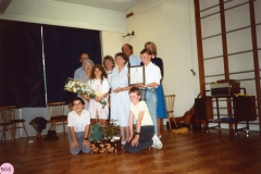 July 1988 Presentation to Miss J. Sullivan. Pupils centre: Melanie Peedell and Oliver Pattie. Front: Rajen Patey and Andrew McAdam.