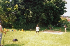 July 1996 School Summer Fayre. Obstacle course.
