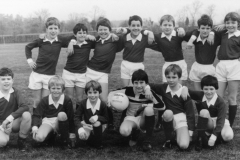1984 Football team wearing strip paid for by a sponsored fish organised by Vic Squire.