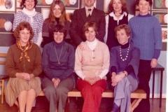 c. 1977 Middle Barton School Staff - Back row (l-r) Christine Grief, Theresa Winter, Martin Cox (Head Teacher), Kay Gaffney, Jane Bosley. Front row Anne Ryan, Marion Pettingel, Margaret Wilson, Joan Alexander. (School 2)