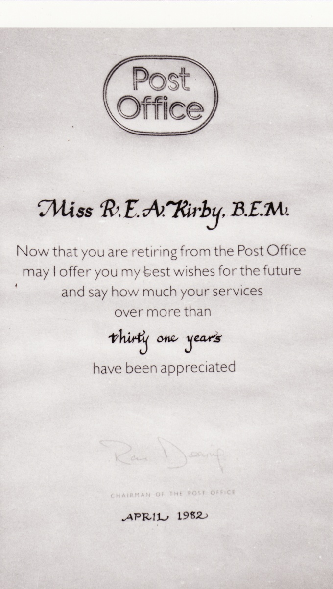 April 1982 - Post Office retirement appreciation.