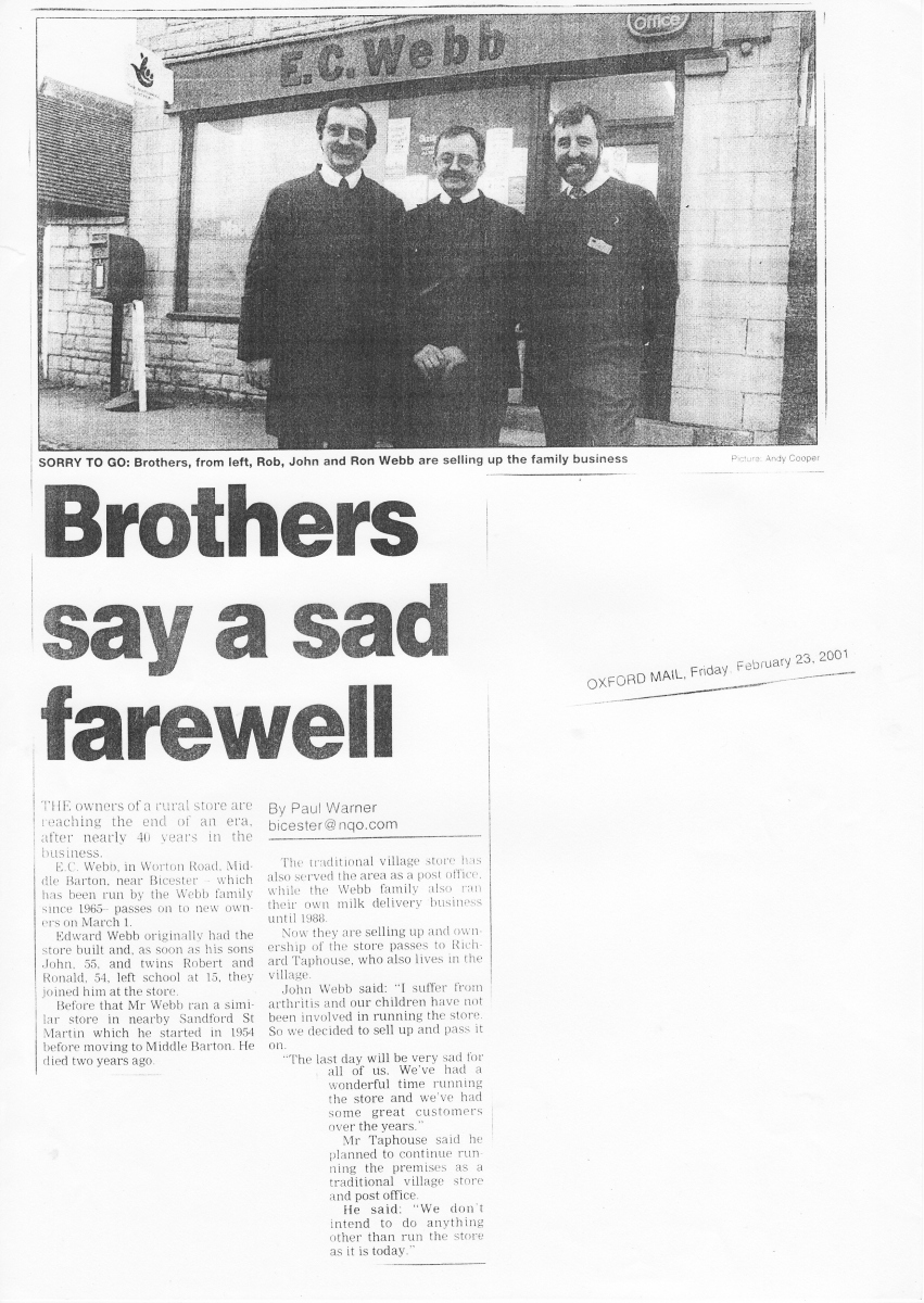 February 2001 Brothers say a sad farewell.