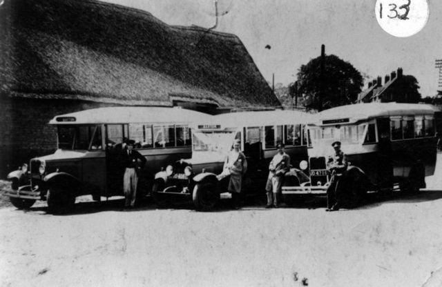 Middle Barton Garage Coach Service. Len French, Bob Jarvis, Walter Boffin, Len Haynes.