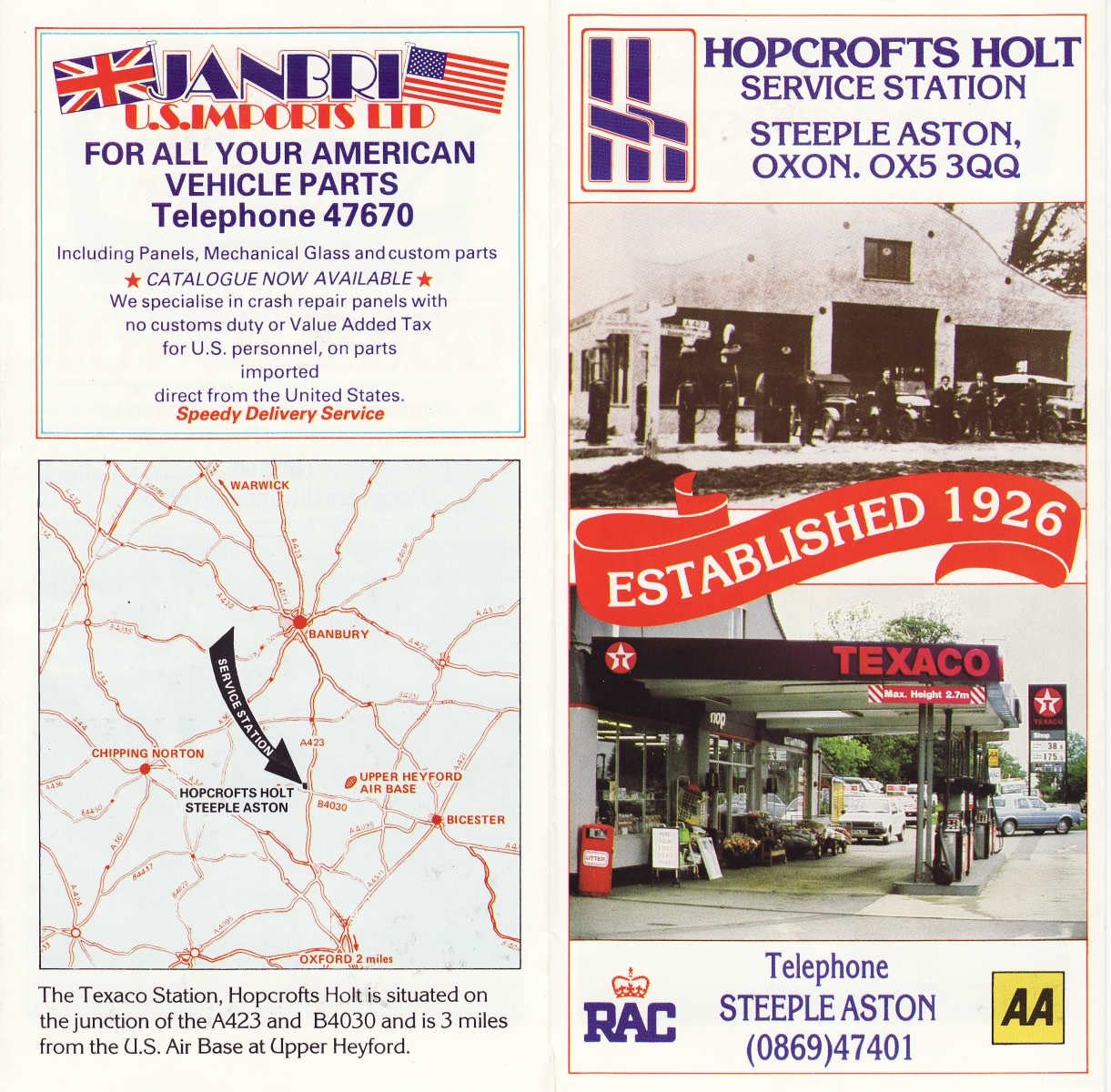 Hopcrofts Holt Service Station advertisement -1.