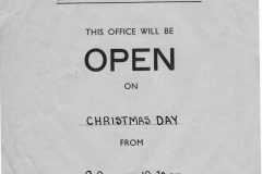 December 1930 Special Holiday Notice - Post Office open Christmas Day