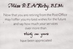 April 1982 - Post Office retirement appreciation.