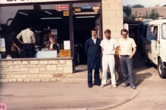 1986 Robert, Ron and John Webb. Karen Webb by the till.