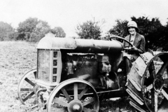 1930 Tractor belonging to Will Irons. Marjorie Smith (later Mrs Will Irons).