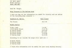 1983 Letter from WODC identifying shop closures in late 1970s and early 1980s.