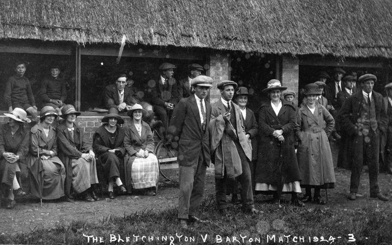 1924 The Bletchington v Barton Match, Front, left to right: Jack Thomas, Tom Stewart, ? Stewart, Emily Thomas, Mrs Edith Lilian Bradshaw, William Wood.