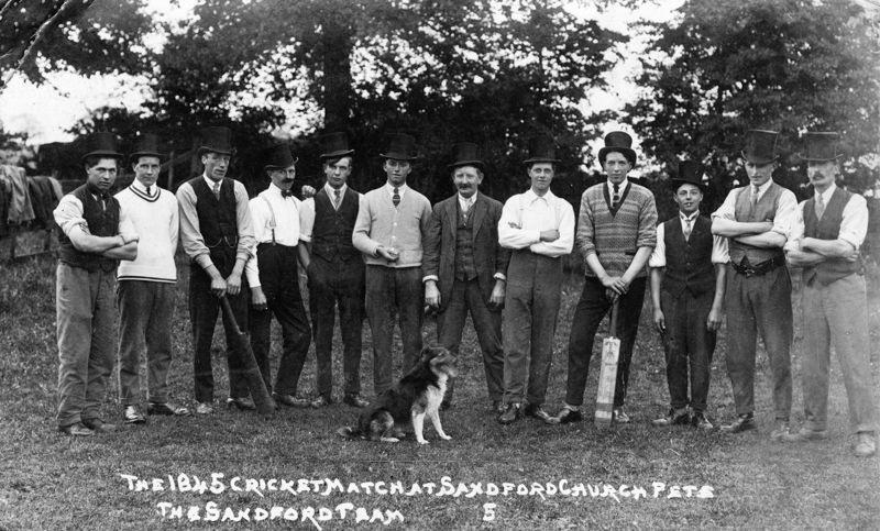 The 1845 cricket match at Sandford church fete - the Sandford team.