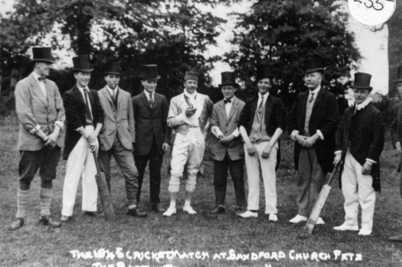 The 1845 cricket match at Sandford church fete - the Barton team. Bert Farley, Wheeler, Billy Jefferies, Harry Stevens, Ronald Riach, Frank Humpries, George Stockford, Walter Parsons, Charles Boffin, Herman Brain ?
