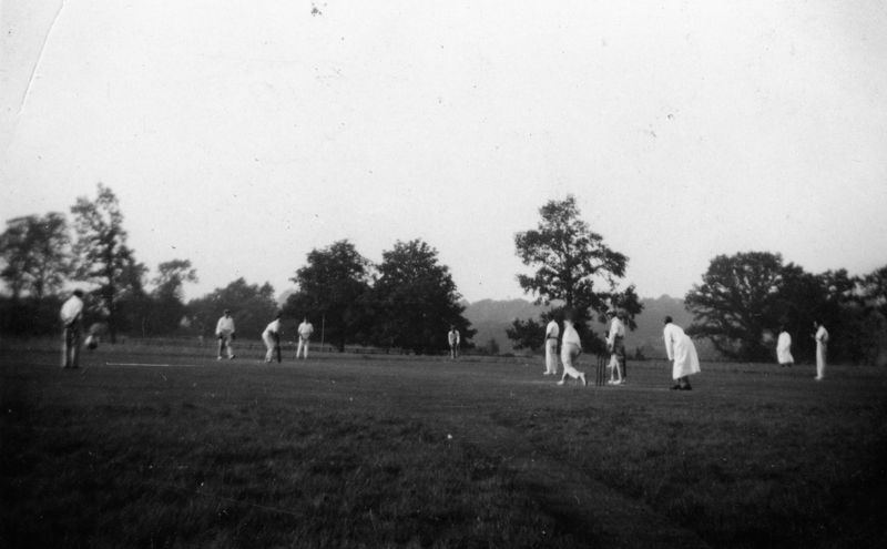 2 September 1933 Middle Barton v the Rest of the League in the Valentia Cup (at Bletchington). S. Cox bowling for the winners, Middle Barton.