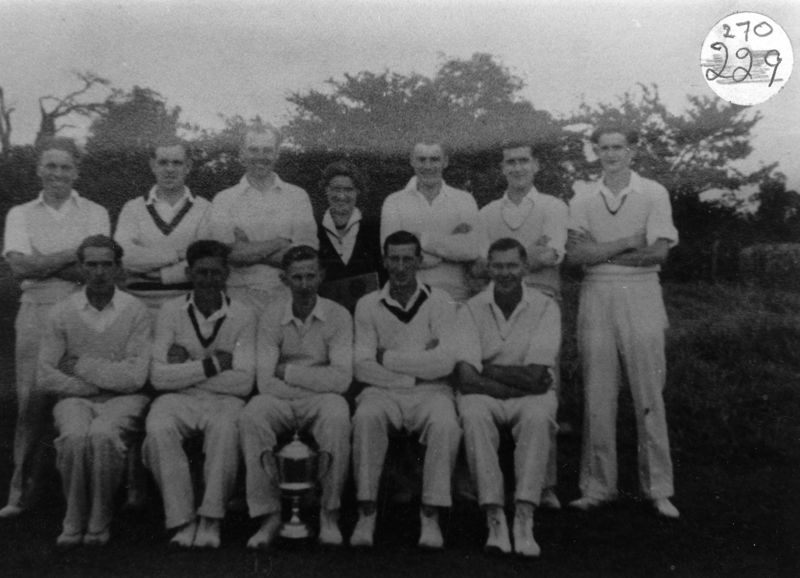 1950s Back: Jim Moulder, Ralph Mitten, Derrick Jarvis, Betty Moulder (Hughes). John Brooks, Ron Gascoigne. Front: Jack Sharp, Glyn Cox, Bill Gascoigne, George Hughes and Jack Cox.