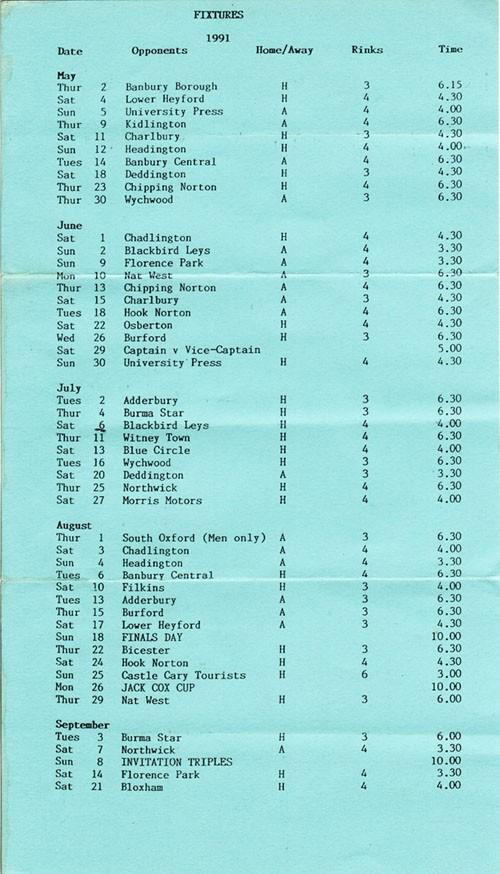1991 Middle Barton Bowling Club Fixture Program - M Page.