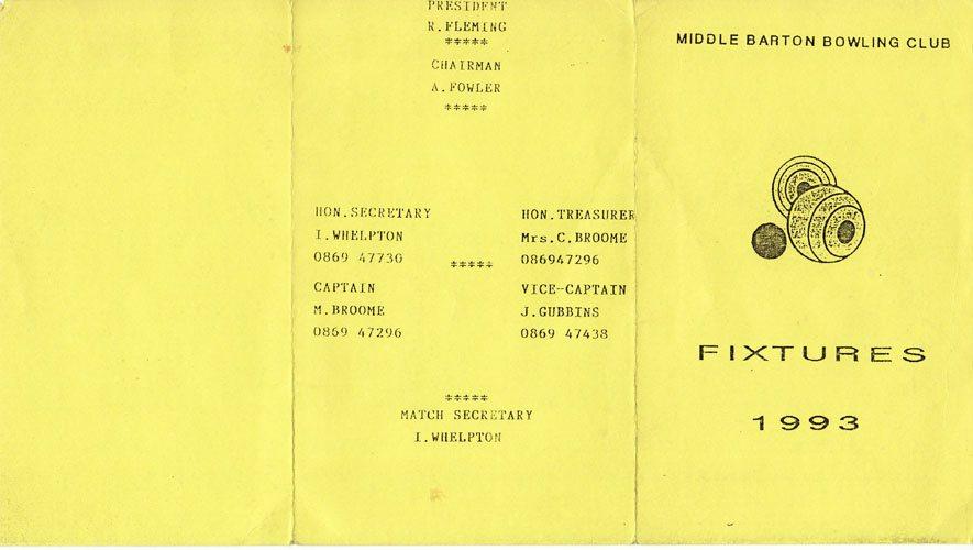 1993 Middle Barton Bowling Club Fixture Program.