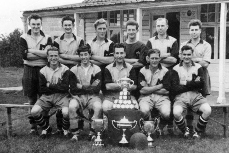 Back: Robin Cox, Ron Gascoigne, John Bolton, John? Fowler, Derrick Jarvis, David Jarvis. Front: Bill Dempsey, Tony Smith, Brian Caker, Elyn Cox, Peter Bauckham.