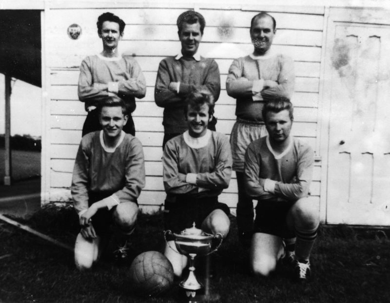 Back: Ron Gascoigne, Len Panting, Derrick Jarvis. Front: Michael Thomas, Bob Shirley, Peter Wetherall.