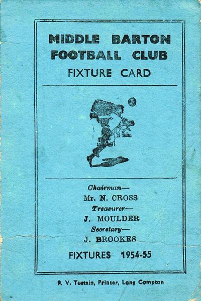 1954-55 Middle Barton Football Club - Fixture card.