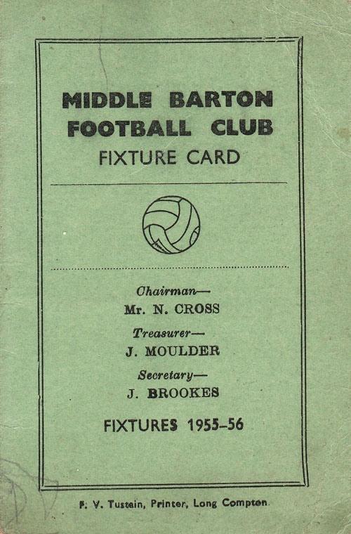 1955-56 Middle Barton Football Club - Fixture card.