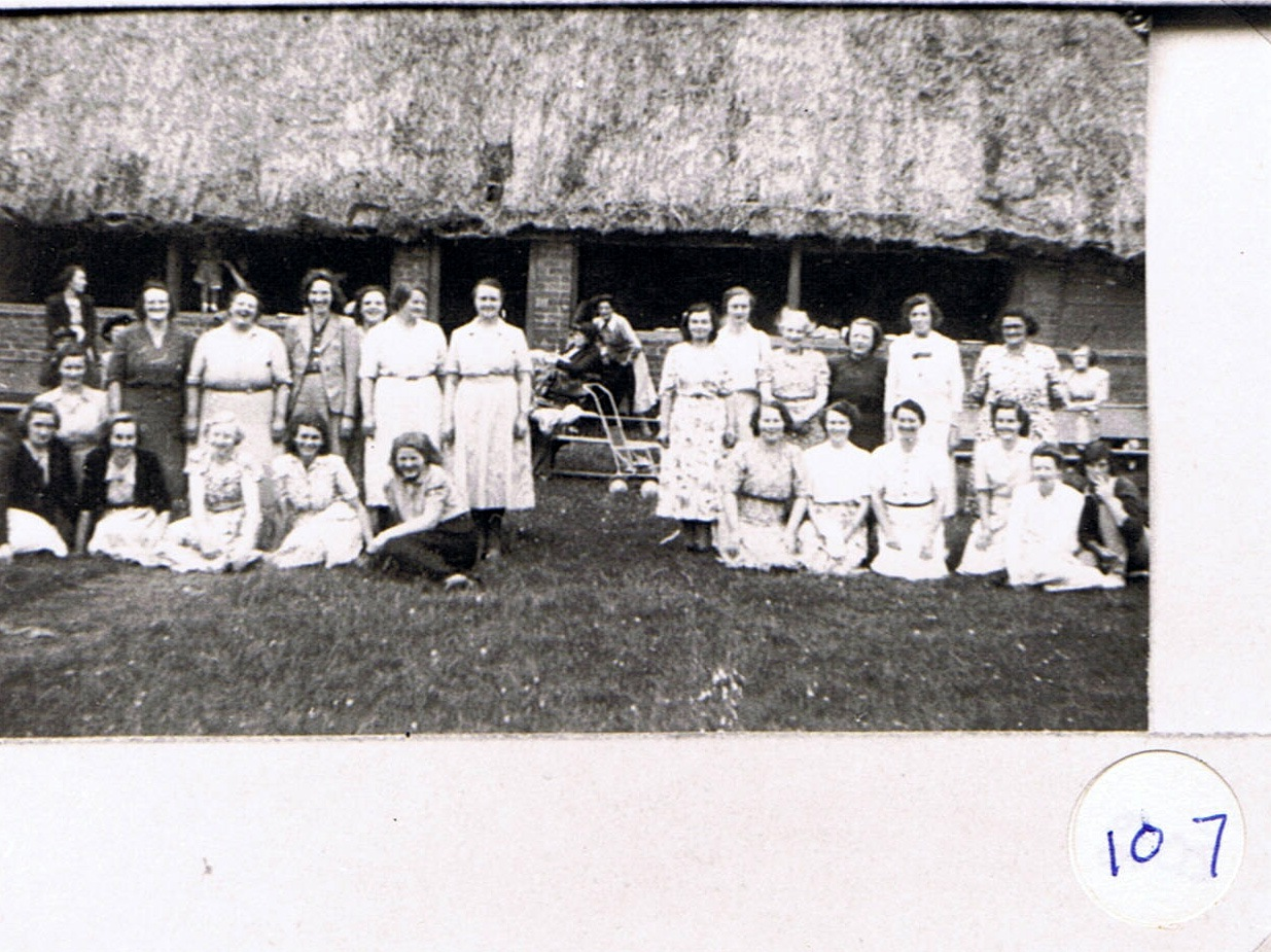 1950s. The Womens' Institute Cricket Team (left side) at The Sands, Barton Abbey. Back row, l to r: Barbara Wood, Hilda Cox, Ada Stockford, Majorie Irons, Monica Pratley, Hilda Gascoigne, Mary Osment. Other team unknown.