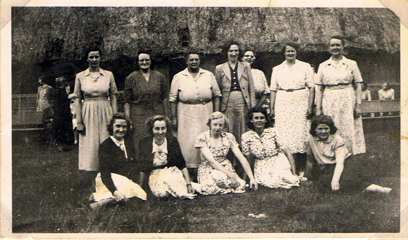 1950s. The Womens' Institute Cricket Team at The Sands, Barton Abbey. Back row, l to r: Barbara Wood, Hilda Cox, Ada Stockford, Majorie Irons, 'Bubbles' Pratley, Hilda Gascoigne, Mary Osment.