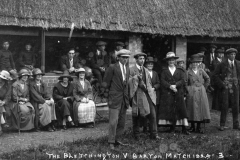 1924 The Bletchington v Barton Match, Front, left to right: Jack Thomas, Tom Stewart, ? Stewart, Emily Thomas, Mrs Edith Lilian Bradshaw, William Wood.