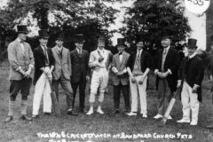 The 1845 cricket match at Sandford church fete - the Barton team. Bert Farley, Wheeler, Billy Jefferies, Harry Stevens, Ronald Riach, Frank Humpries, George Stockford, Walter Parsons, Charles Boffin, Herman Brain ?