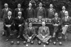 1930 Back: Walter Parsons, Walter Howe, Albert Paine, George Hope, Ronnie Riach, Jethro Callow. Middle: James Canty, George Brooks,        Frank Gascoigne, Willie Courtnell. Front: Alec Stewart, Gilbert Newman.