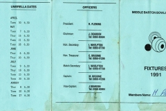 1991 Middle Barton Bowling Club Fixture Program - M Page.