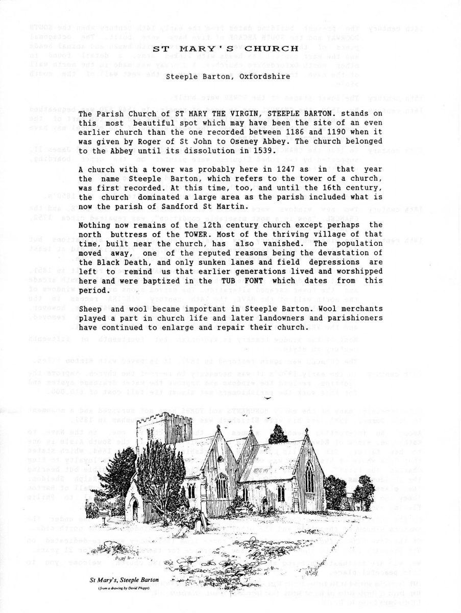 Steeple Barton Church history - 1.