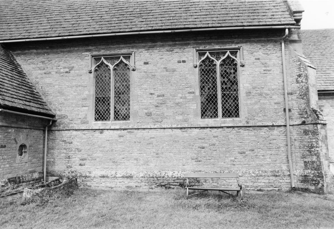 September 1988 South view showing mediaeval coffin (JM).