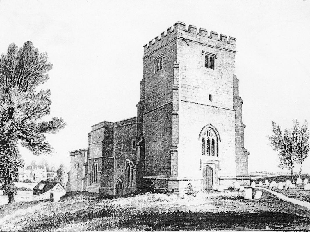 1823 North west view of Steeple Barton Church. Drawing by J C Buckler.