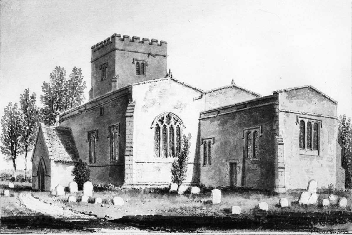 1823 South east view of Steeple Barton Church Oxfordshire. Drawing by J C Buckler.