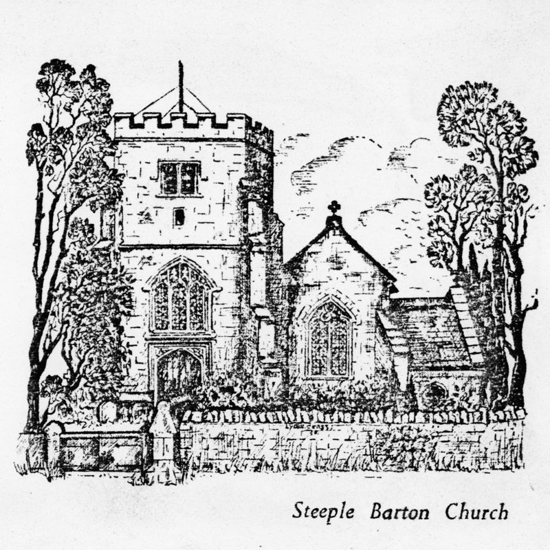 Steeple Barton Church - line drawing with 'A Happy Xmas' greeting.