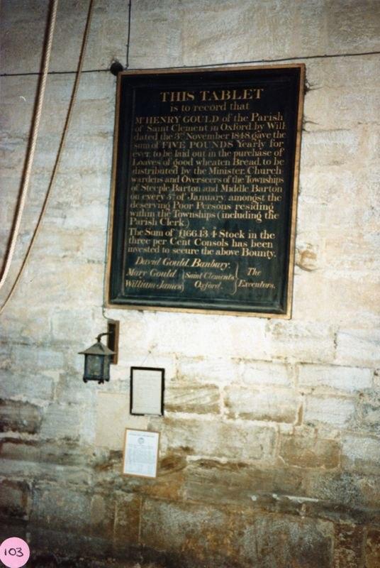 November 1986 Tablet in Steeple Barton belfry.