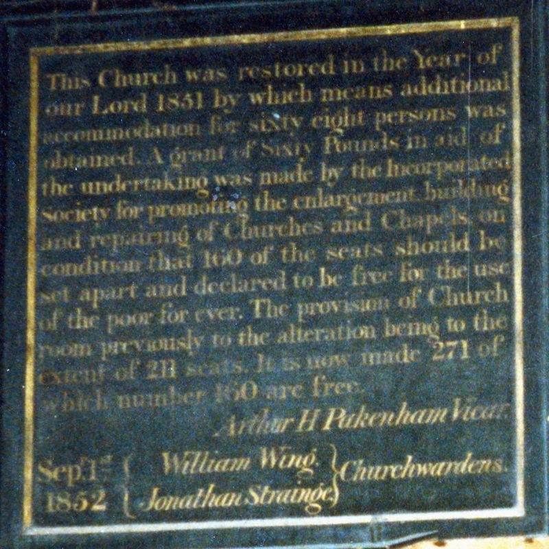 1851 Church restoration memorial.