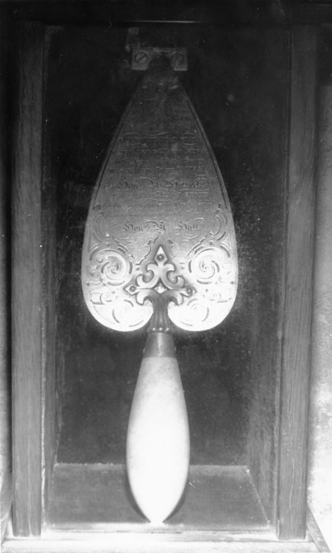 June 19th 1851Trowel used in the laying of the Victorian foundation stone.