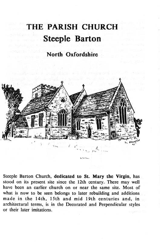 A Guide to the Parish Church of Steeple Barton - page 1.