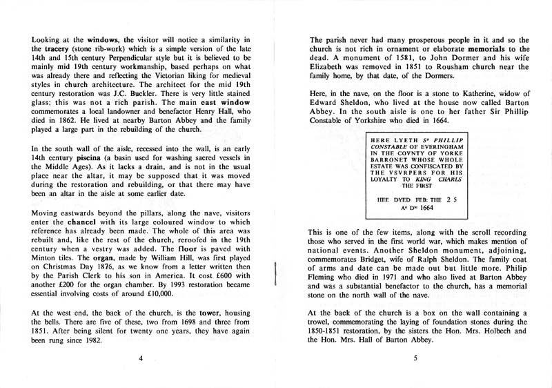 A Guide to the Parish Church of Steeple Barton - pages 4 and 5.
