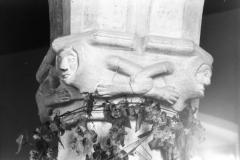 September 1988 Carvings on piers of arcade (JM).