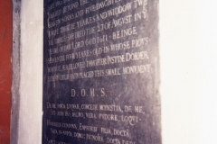1990 Stone on wall in organ loft. Joane Humfrey died 1611, aged 74.