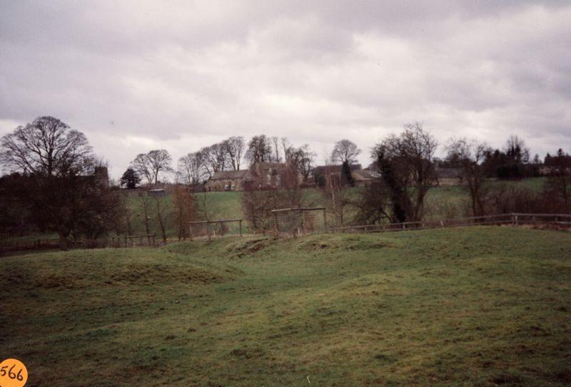 January 1993 Steeple Barton panorama: view of Church and Church farm.