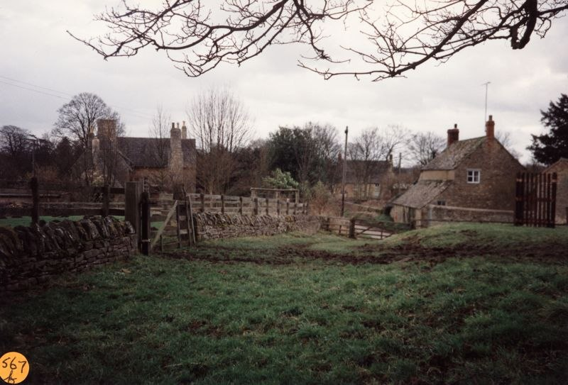 January 1993 Steeple Barton panorama: view of the Old Vicarage and Pritchard's cottage.