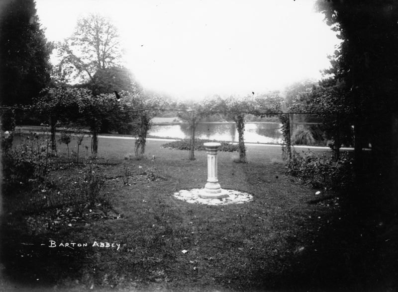 1920s Sundial (in original position) presented by the staff to Mr. and Mrs. A. W. Hall of Barton Abbey on the occasion of their Golden Wedding in 1913.