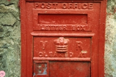 1986 Victorian post box in Steeple Barton on the wall of the cottage opposite the old Vicarage.