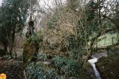 1990 Water spout by footbridge from Burnham field, east of Turnpike.